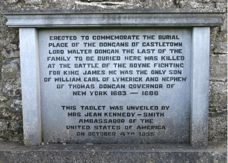 Dongan plaque, Tea Lane Graveyard, Celbridge