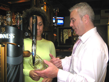 Learning to pour a pint of GUinness in Celbridge, Kildare
