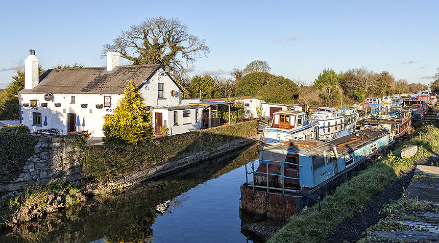 Barge moored on Grand Canal at Leixlip
